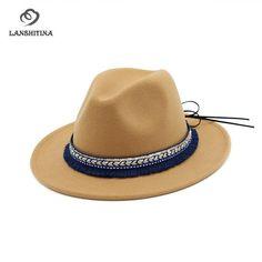 #FASHION #NEW High Quality Wide Flat Brim Wool Felt Formal Party Trilby Fedora Hat Fashion Women Lady Jazz Cap Hat with Ribbon Decoration