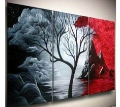 Santin Art - Hand-painted Artwork the Cloud Tree High Q. Wall Decor Modern Landscape Oil Painting on Canvas 12x16inch 3pcs/set Mixorde Framed Santin Art,http://www.amazon.com/dp/B00A6O719S/ref=cm_sw_r_pi_dp_RejPsb0R79DS0E86