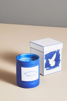 Hotel Magique for Anthropologie The Scent Of Magique Boxed Candle | Anthropologie Good Burns, Blue Hibiscus, Candle Box, Large Candles, Cotton Blankets, Best Brand, Paper Goods, Gift Guide, Anthropologie
