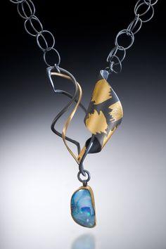 Opal Ribbons Necklace by Judith Neugebauer. Oxidized Sterling, 22k, 18k, 23k Gold Leaf, Boulder Opal