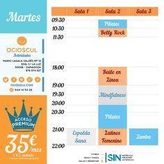 #BuenosDias #Zaragoza Actividades del martes: #EspaldaSana #BellyRock #Pilates #BaileEnLinea #Mindfulness #Zumba #BailesLatinos (Femenino)