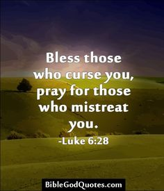 Bless those who curse you, pray for those who mistreat you. -Luke 6:28. I thought this was appropriate considering all the strife that is happening in our nation.