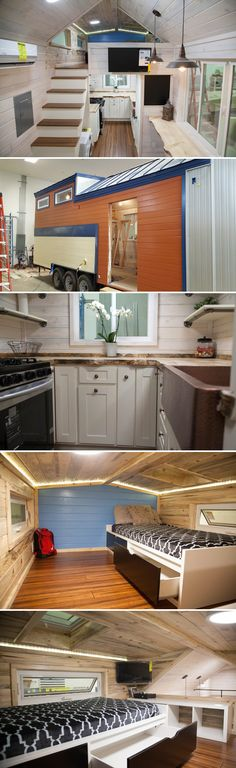 The Artist is a 28' off-grid tiny house. The 280-square-foot solar powered home was built for a mother and her son, and includes an artist's studio.