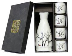 Japanese Bamboo Design Porcelain Sake Set 1 Bottle and 4 Cups Free Shipping