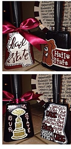 Hand painted Mississippi State cowbells #hailstate #godawgs Cheerleading Crafts, Hs Football, Football Spirit, Mississippi State Bulldogs, Diy Letters, Presents For Friends, Grad Gifts, Wedding Party Favors, School Spirit