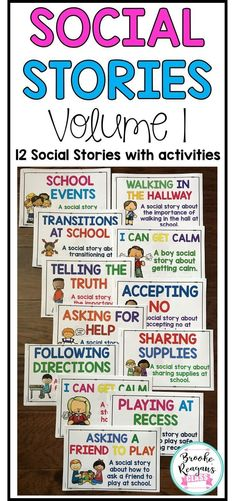 Social stories bundle that includes 12 social stories to teach appropriate behaviors for school. These social stories come in color and black and white versions. Activity is included after each story to check for understanding. Coping Skills Activities, Social Emotional Activities, Teaching Social Skills, Social Stories Autism, Autism Resources, Behavior Reflection, Appropriate Behavior, Conscious Discipline, Classroom Behavior