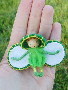 Grasshopper Waldorf Fairy Bug Felt Bendy Doll