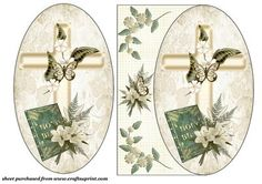 Easter Sympathy oval card front on Craftsuprint designed by Sharon Poore - Easter sympathy oval card front with decoupage - Now available for download!