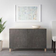 IKEA BESTA Black-Brown Kallviken, Dark Gray Concrete Effect Storage combination with doors Paint Colors For Living Room, Room Colors, Living Room Decor, Brown And Cream Living Room, Soft Closing Hinges, Frame Shelf, Ikea Family, Brown Furniture, Rustic Furniture