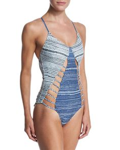 Printed-Stripe Cutout One-Piece Swimsuit by Mara Hoffman at Neiman Marcus.
