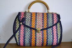 Handmade, Vintage - Pixalia - haine si accesorii faine: Geanta din rafie colorata