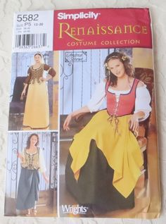 Simplicity 5582 Sewing Pattern Renaissance Medieval Costumes Women's Size P5 12-20
