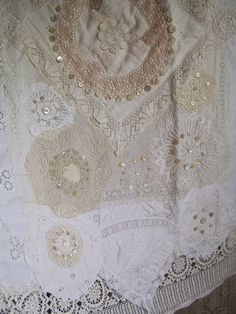 Quilt made from doilies, with button trim