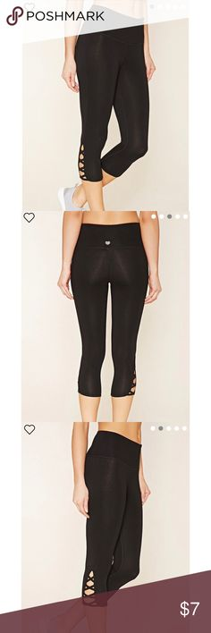F21 Active Crisscross Leggings Classic Forever 21 crop workout leggings with crisscross detail on side. Final size. Forever 21 Pants Leggings
