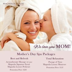 Spoil Mom with a wonderful 𝐌𝐨𝐭𝐡𝐞𝐫'𝐬 𝐃𝐚𝐲 𝐏𝐚𝐜𝐤𝐚𝐠𝐞! What better way to say thanks to mom than giving her the gift of relaxation this Mother's Day? We have assembled two relaxing and refreshing spa packages, especially with MOM in mind... Explore the Magnolia House Mother's Day Packages below and email us to arrange your Gift Card for curbside pickup.. boutique@magnoliahousespa.com And don't forget about our Magnolia House Mother's Day Bonus Card Love You Mom, Our Love, Mothers Day Spa, Magnolia House, Spa Packages, Spa Day, Don't Forget, Relax, Explore
