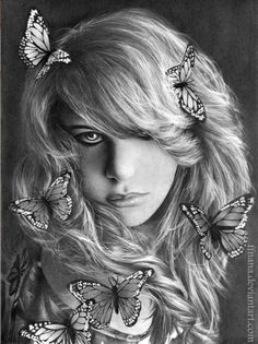"This is a beautifully drawn black and white image by artist Enikő Szabó. I especially love all the butterflies in her hair! ""kochou"" by Enikő Szabó, via DeviantArt: http://ffnana.deviantart.com/gallery/?offset=0#/d3lefx7"