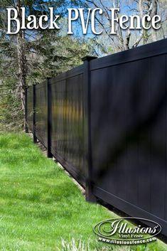 Fence Ideas That Add Curb Appeal. Black PVC Privacy Fence Panels Add Curb Appeal To Your Fencing Panels. It's a Great Good Neighbor Fence Idea. Backyard Privacy, Backyard Fences, Fenced In Yard, Vinyl Fence Panels, Privacy Fence Panels, Privacy Walls, Fence Options, Fence Ideas, Garden Ideas