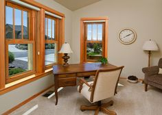 ProVia Endure vinyl windows are available in luxurious woodgrain interior colors, including Classic Oak, Dark Oak and Traditional Cherry. Wooden Window Design, House Window Design, Wooden Windows, House Design, Minimalist Window, Modern Minimalist House, Minimalist Bedroom, Minimalist Style, Vinyl Window Trim