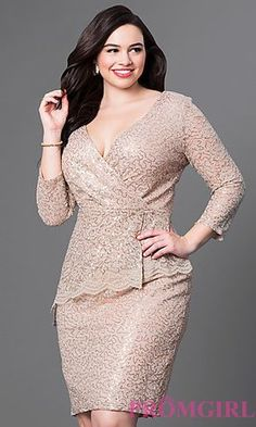 Gold Knee Length Lace and Sequin Dress at PromGirl.com