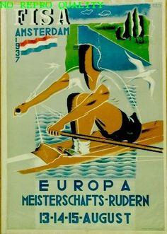 F.I.S.A. Amsterdam 1937 Europa Meisterschafts Rudern - by Wim Bosma - at Stedelijk Museum Amsterdam