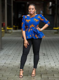 Ankara peplum top can be worn with a skirt or trouser. - This item is handmade and ships within a week. - Rush service also available, if you need the item by a particular day, please send me an etsy conversation. ******A copy of our size chat has been added to photo collage, please