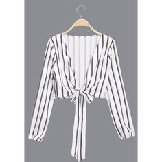 Yoins Stripe Pattern Tie the Knot Crop Top (390 UAH) ❤ liked on Polyvore featuring tops, black, striped top, stripe crop top, tie top, knotted crop top and v neck tops