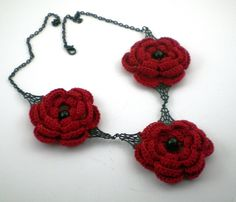 Red Rose Crochet Necklace