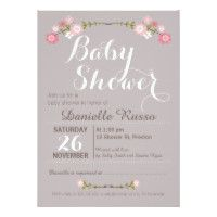 Rustic Floral Girls Baby Shower Invitation