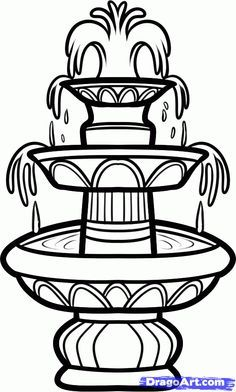 fountain drawing | how to draw a fountain, water fountain step 6