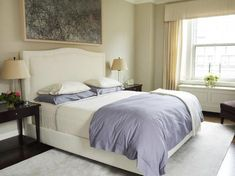 transitional bedroom in ivory and violet - traditional - Bedroom - New York - Kathleen Walsh Interiors, LLC Transitional Home Decor, Transitional Living Rooms, Transitional Kitchen, Transitional Lighting, Transitional Style, Bedroom Color Schemes, Bedroom Colors, Bedroom Ideas, Bedroom Decor