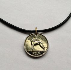 choose year irish Éire Ireland 6 pence pingin charm coin pendant necklace jewelry copper nickel dog hound animal pet coin No.000120 by acnyCOINJEWELRY on Etsy