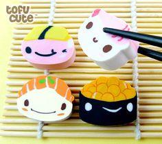 Buy Kawaii Sushi Characters Eraser Set at Tofu Cute