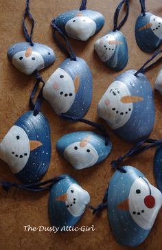 I found these shells on Point Machaud Beach, Cape Breton, NS and painted them as snowman Christmas ornaments.
