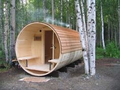 Sauna in the woods? Tiny House Cabin, Tiny House Living, Little Cabin, Little Houses, Tiny Houses, Dog Houses, Living In Alaska, Small Room Design, Cabins And Cottages
