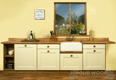 Base cabinets, belfast sink unit, solid oak worktop, upstand and plinth. Solid Wood Kitchen Cabinets, Solid Wood Kitchens, Painted Cupboards, Kitchen Units, Oak Cabinets, Farrow And Ball Kitchen, Solid Oak Doors, Belfast Sink, Kitchen Decor
