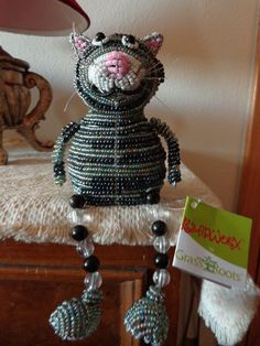Beadworx Glass Beads Beaded Wire Cat, Artisan Sculpture Crafts, Grass Roots   eBay