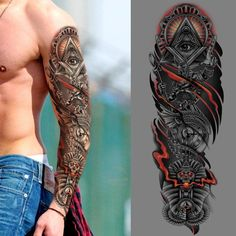 Ubercrate picked a winning design in their tattoo contest. For just they received 32 designs from 3 designers. Egyptian Eye Tattoos, Egyptian Tattoo Sleeve, Skull Sleeve Tattoos, Best Sleeve Tattoos, Tattoo Sleeve Designs, Forearm Tattoo Men, Tattoos For Guys, Cool Tattoos, Illuminati Tattoo