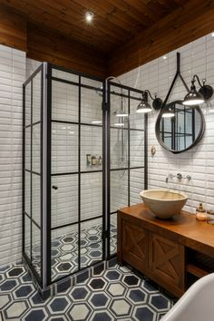 Amazing Industrial Bathroom Design Ideas That Will Make You More Enjoy Industrial Bathroom, Bathroom Interior, Modern Bathroom, Bathroom Black, Master Bathroom, Mirror Bathroom, Bathroom Small, Bathroom Cabinets, Tile Mirror