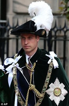 Prince William and the royals wore traditional hats for the service, complete with impressive plumage