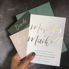 Mercades + Mitchell || Gold foil on white, paired with stone and green hues 💚✨ Mitchell Gold, Foil Wedding Invitations, Polka Dot Paper, Gold Foil, Reception, Wedding Ideas, Stone, Green, Instagram