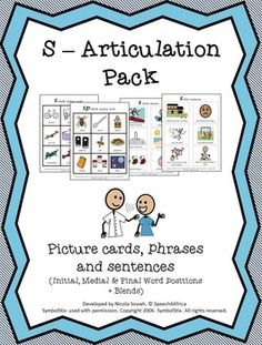 S Articulation Pack Phrases And Sentences, Picture Cards, Therapy Ideas, Speech And Language, Teacher Newsletter, Speech Therapy, Teacher Pay Teachers, Contents, Initials
