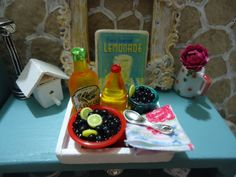miniature olive oil set 1:12 scale with tray7 PCS by MINISSU