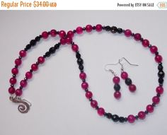CLEARANCE 30%OFF Fuschia Agate and Black Czech Glass by EriniJewel