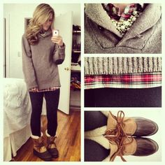 Bean boots, leggings, layered shirts, and an adorable chunky necklace. Cutest thing ever.
