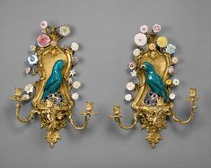 Porcelain flowers by Vincennes Manufactory (French, ca. 1740–1756),  birds 1662–1722, flowers and mounts ca. 1750.  French, Vincennes and Chinese. The Metropolitan Museum of Art, New York. The Jack and Belle Linsky Collection, 1982 (1982.60.64).