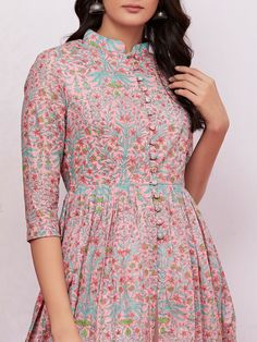 Pink Hand Block Printed Mulmul Cape with Off White Palazzo - Set of 2 Simple Kurti Designs, Fancy Blouse Designs, Churidar Designs, Kurta Designs Women, Sleeves Designs For Dresses, Dress Neck Designs, Indian Designer Outfits, Indian Outfits, Designer Dresses