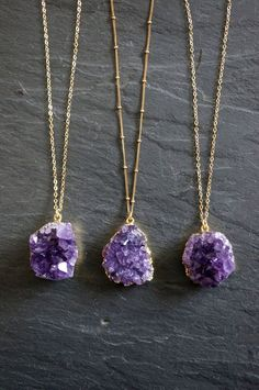 Amethyst Necklace // Amethyst Druzy // Gold by TheRockStarGoddess