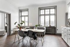 Grey kitchen and dark herringbone floors
