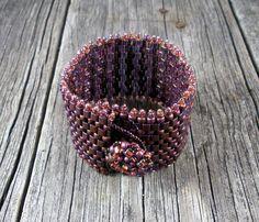 Beadweaving MauveMocha Wide Cuff Bracelet  Peyote by TheHighBead,