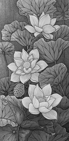 Lineart by DQD by duongquocdinh on DeviantArt Lotus Drawing, Lotus Art, Kerala Mural Painting, Fabric Painting, Pencil Art Drawings, Art Sketches, Molduras Vintage, Lotus Design, Image Digital